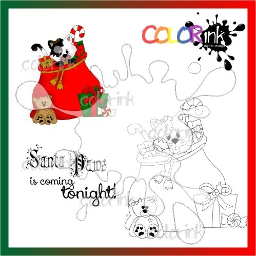 santa paws and  sentiment Digi stamp