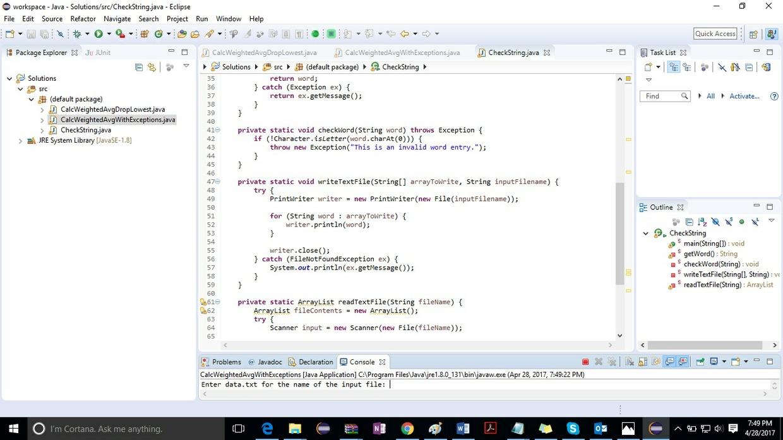 Java program called CheckString Solution