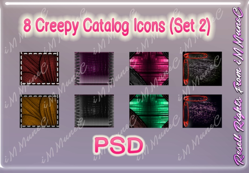 8 Creepy Catalog Icons (Set 2) PSD (Halloween)