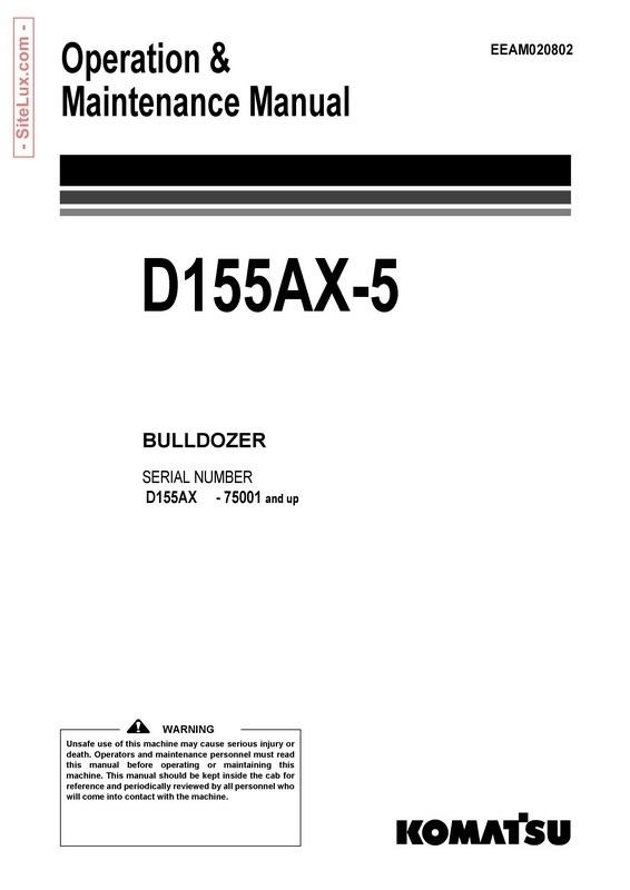 Komatsu D155AX-5 Bulldozer (75001 and up) Operation & Maintenance Manual - EEAM020802