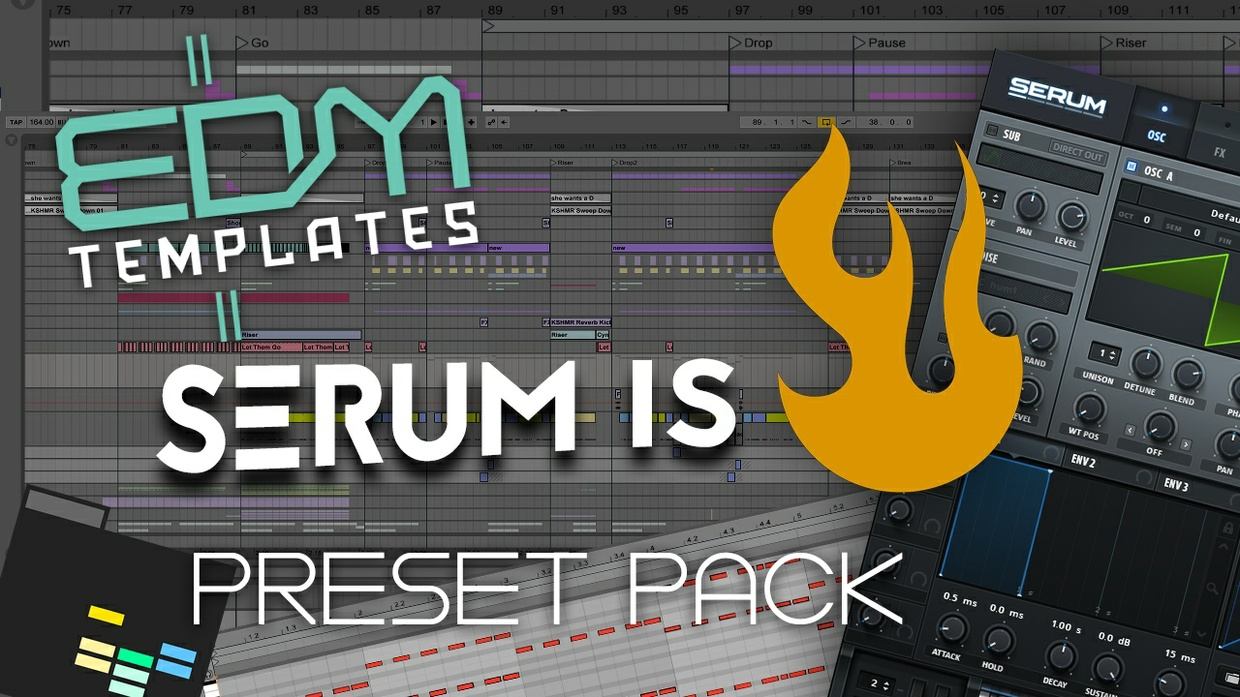 EDM Templates - Serum is Fire Preset Pack + 2 Ableton Live Template Projects + 13 MIDI files.