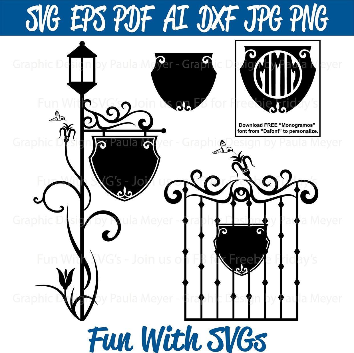 Gate and Lamp Post - SVG Cut File, High Resolution Printable Graphics and Editable Vector Art