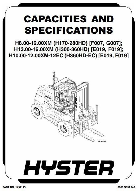 Hyster E019: H13.00XM, H14.00XM, H16.00XM, H10.00XM-12EC, H12.00XM-12EC Workshop Manual