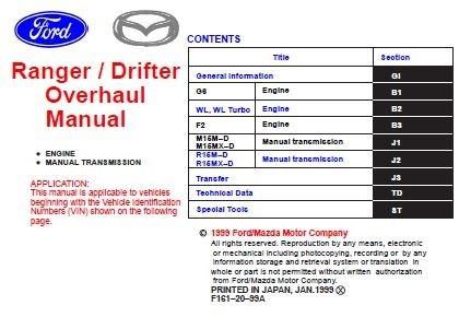 Ford Ranger / Mazda Drifter Engine & Transmission Overhaul Manual
