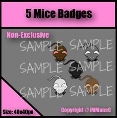 5 Mice Badges
