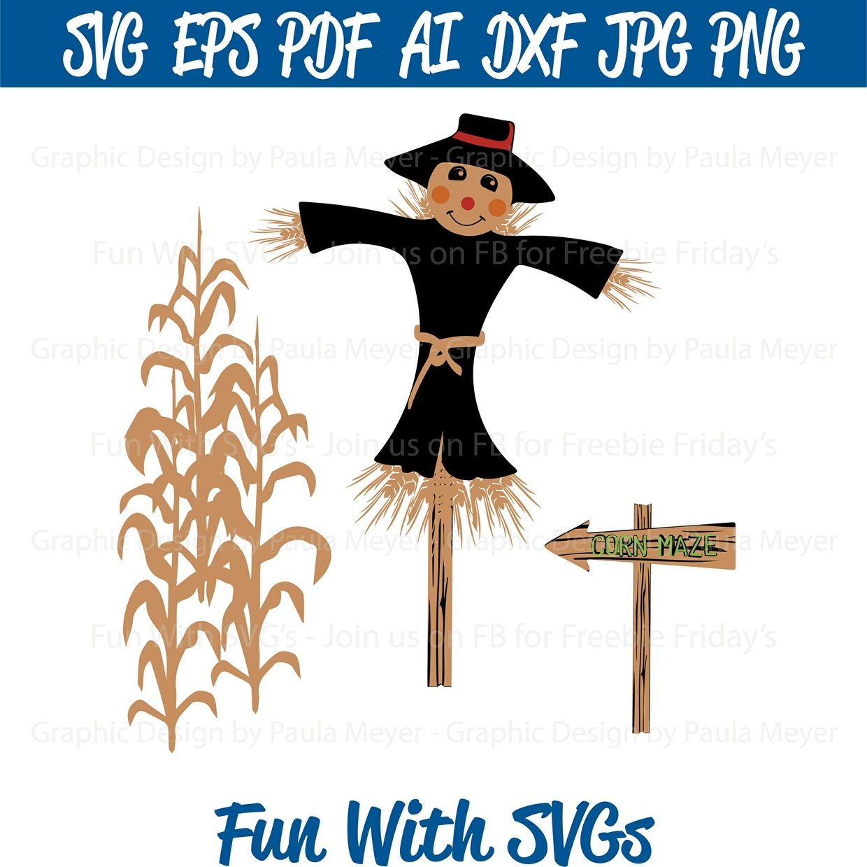 Harvest Scarecrow, Corn Stalks, Maze Sign - SVG, Printable Graphics and Editable Vector Art