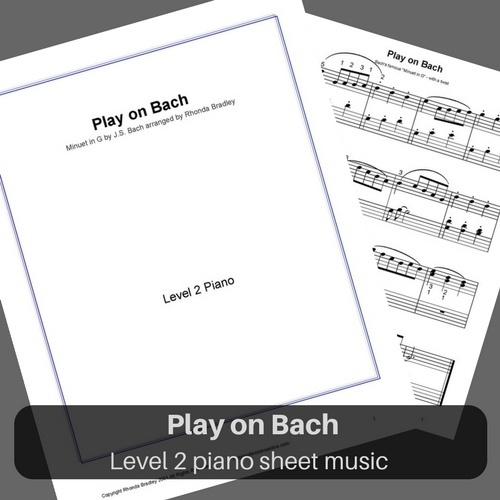 "Bach Minuet in G arrangement ""Play on Bach"" level 2 piano sheet music"