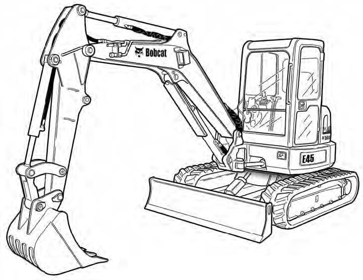 Bobcat E45 Compact Excavator Service Repair Manual Download(S/N AG3G11001 & Above...)