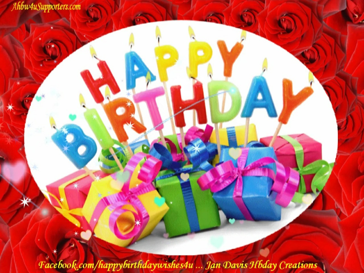 Red Roses & Colorful Happy Birthday Words