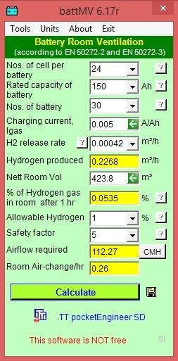 Battery Ventilation Calculation to to EN 50272 Standards