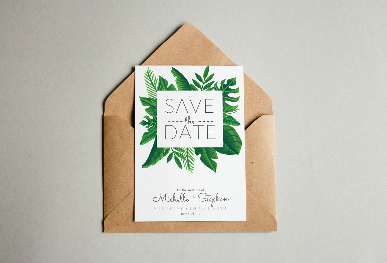 Free Tropical Green Wedding Save The Date Template