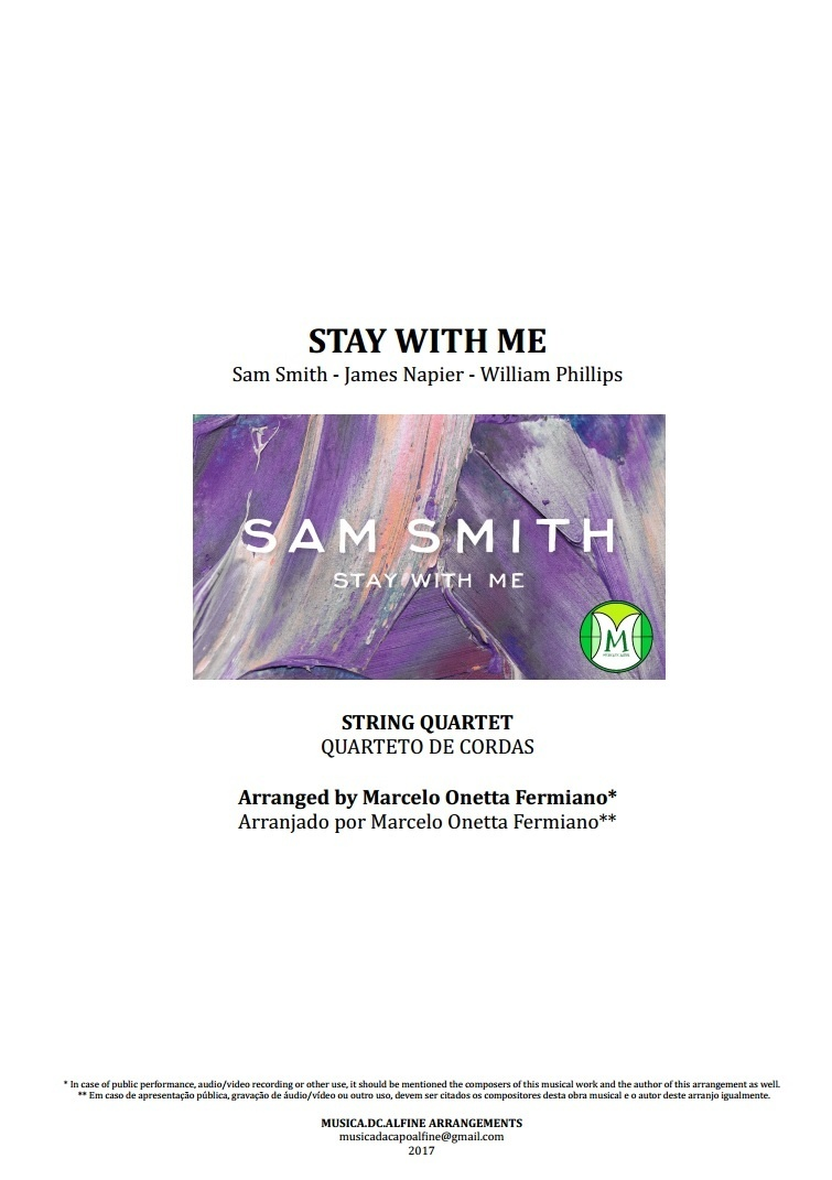 Stay With Me   Sam Smith   String Quartet   Score and Parts   Download