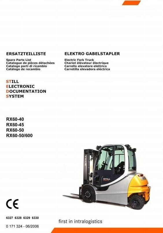 Still Forklift RX60-40, RX60-45, RX60-50, RX60-50/600: 6327, 6328, 6329, 6330 Spare Parts Manual