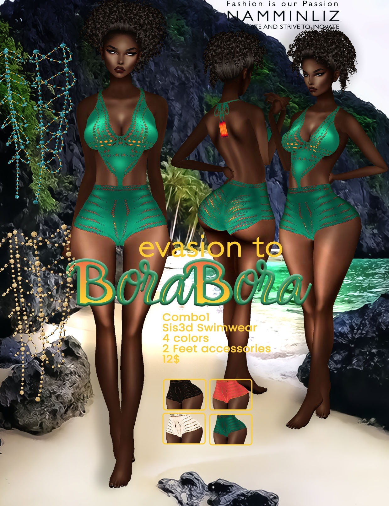 Evasion to Bora Bora combo1 Sis3d swimwear imvu NAMMINLIZ