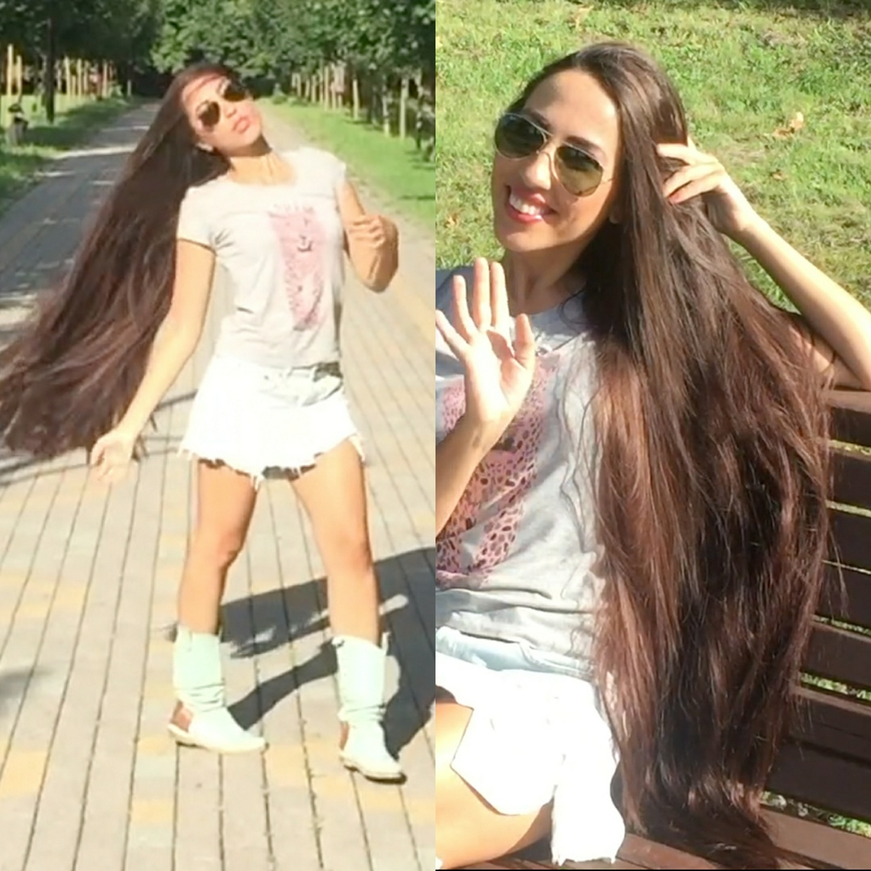 VIDEO - A long hair trip in the park