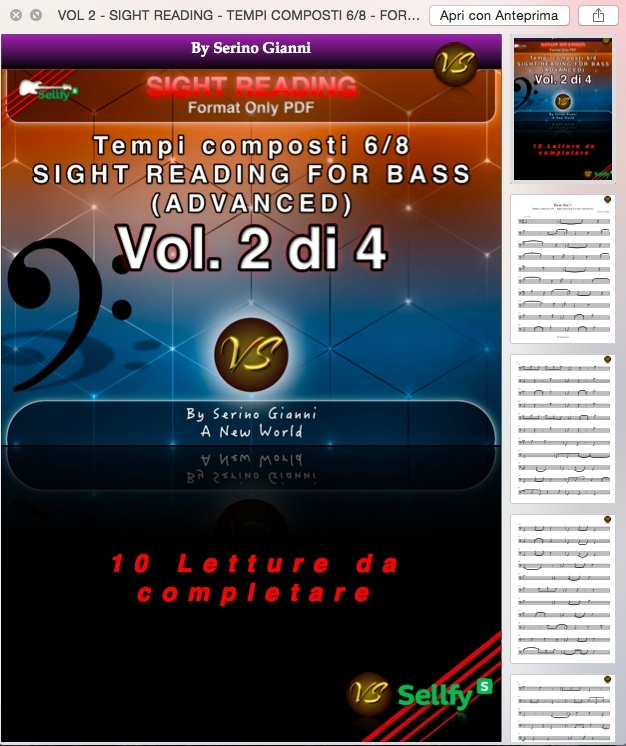VOL 2 - SIGHT READING - TEMPI COMPOSTI 6/8 - FOR BASS (ADVANCED) ONLY PDF FORMAT