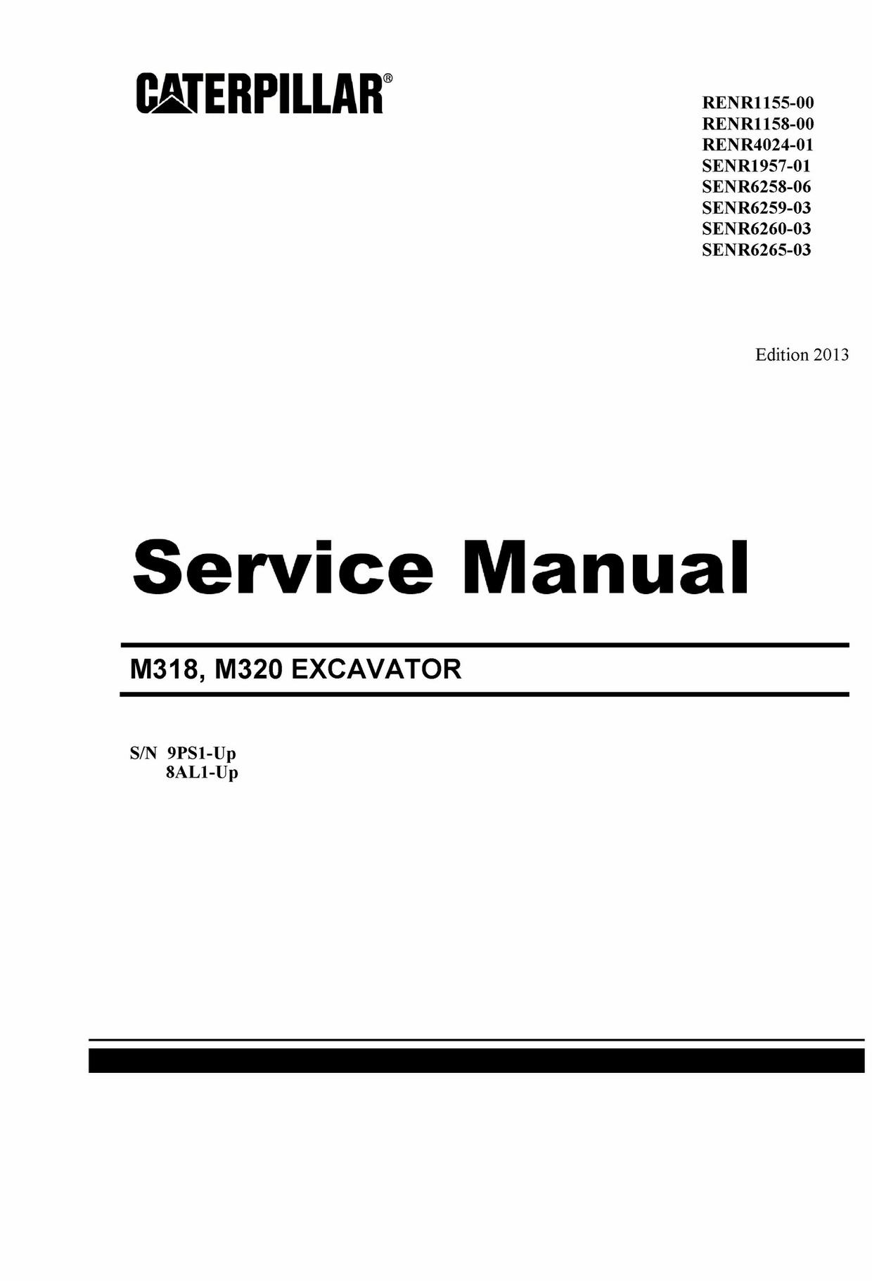 Cat Caterpillar M318 M320 Wheeled Excavator Complete Repair Service Manual INSTANT DOWNLOAD