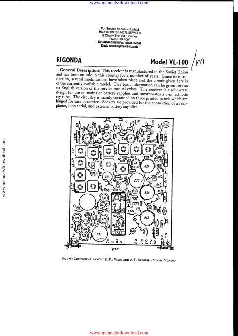 Rigonda VL100M Service Info