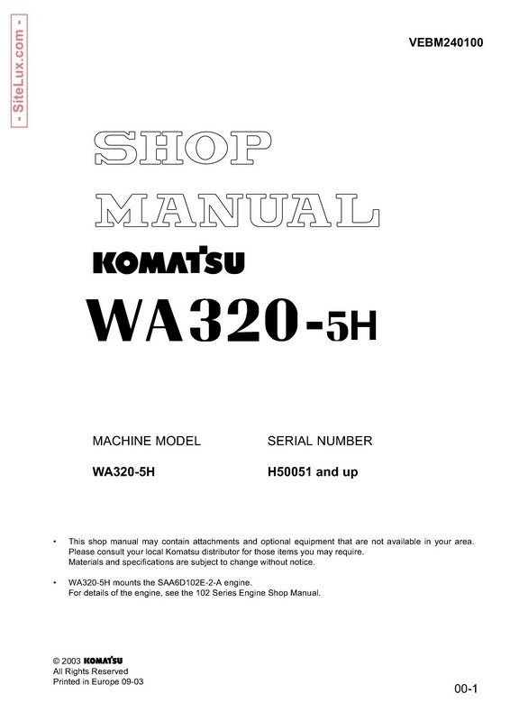 Komatsu WA320-5H Wheel Loader Shop Manual - VEBM240100
