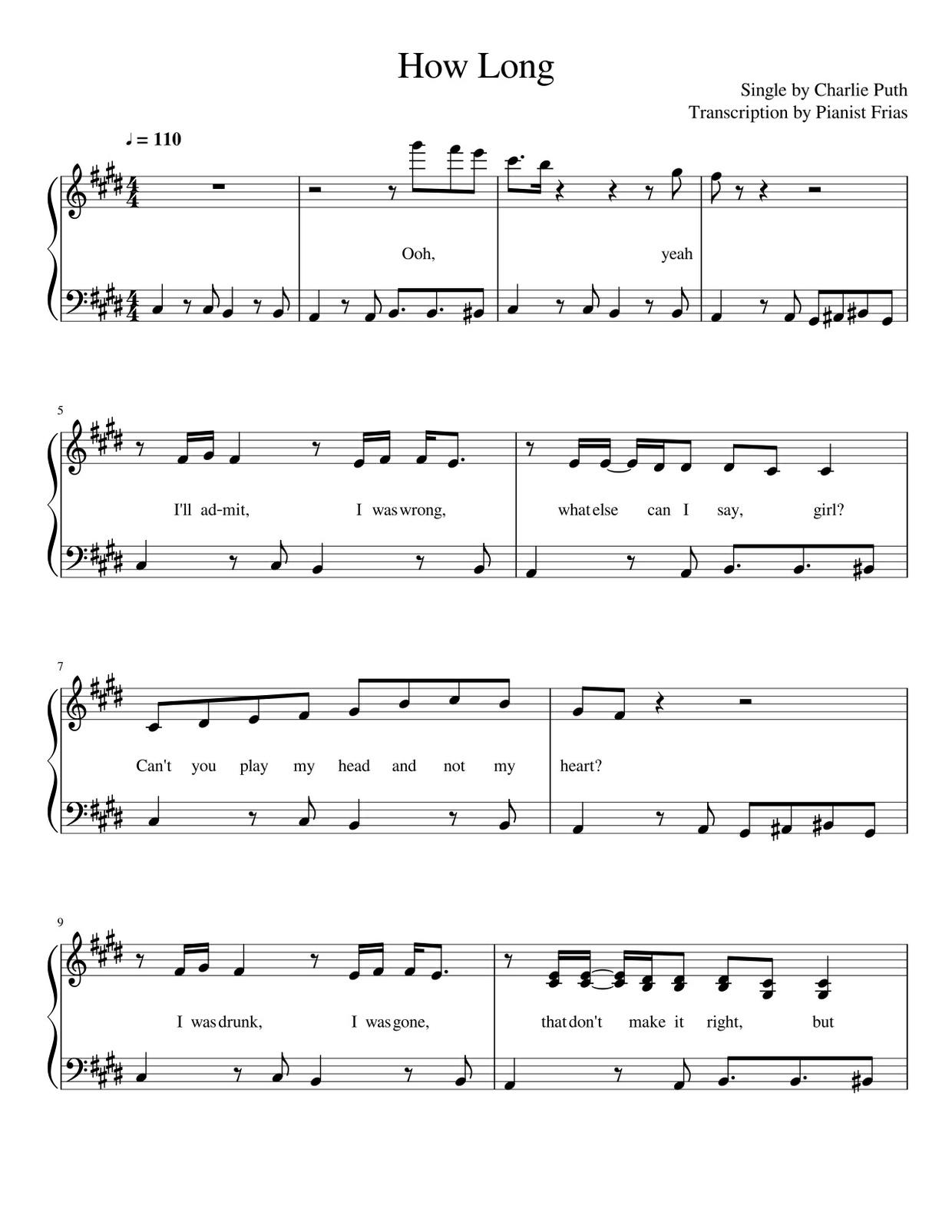 Charlie Puth - How Long (pdf)