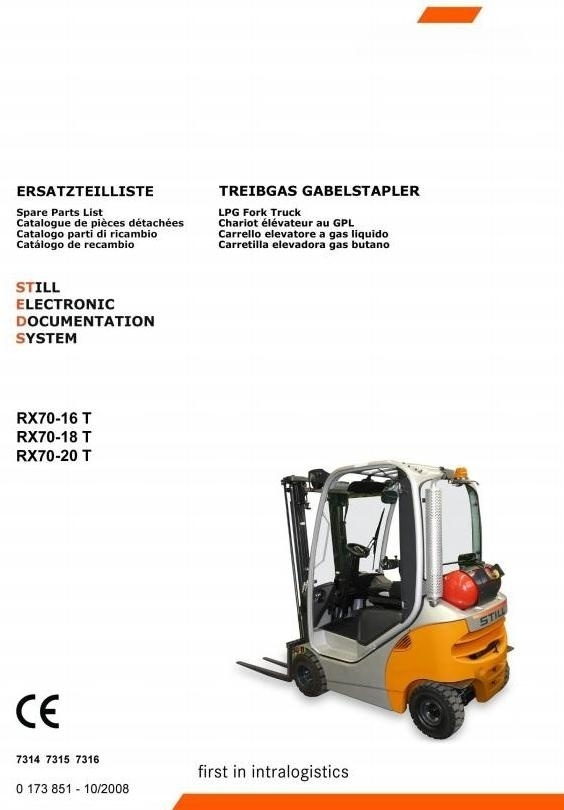 Still LPG Forklift Truck RX70-16, RX70-18, RX70-20: 7314, 7315, 7316 Parts Manual
