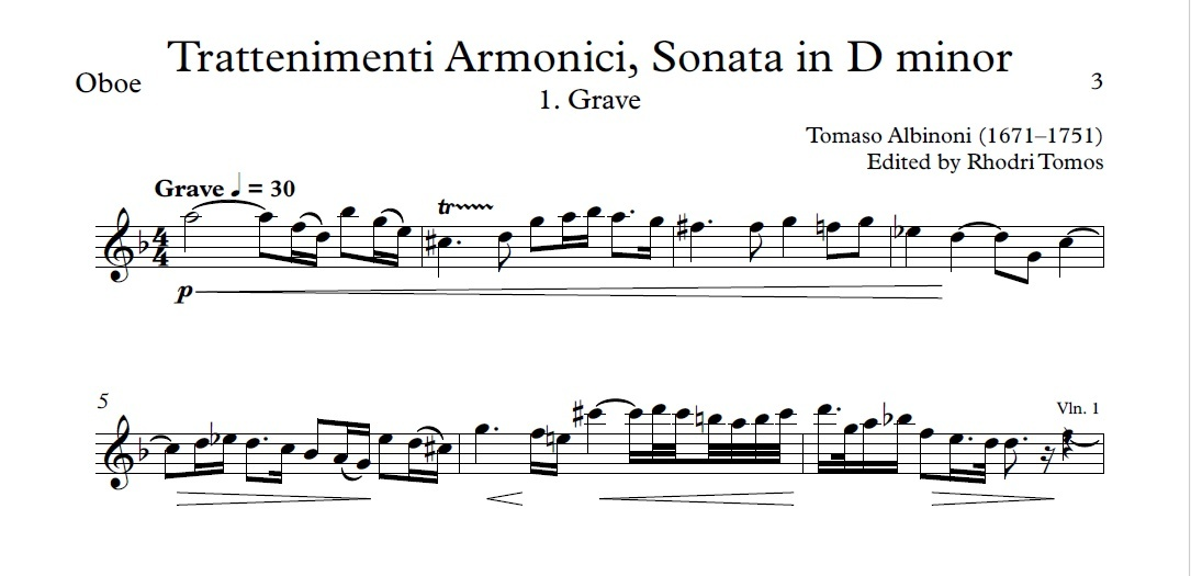 Albinoni Op.6 No.4 Sonata in D minor. Solo parts pdf and mp3 accompaniment