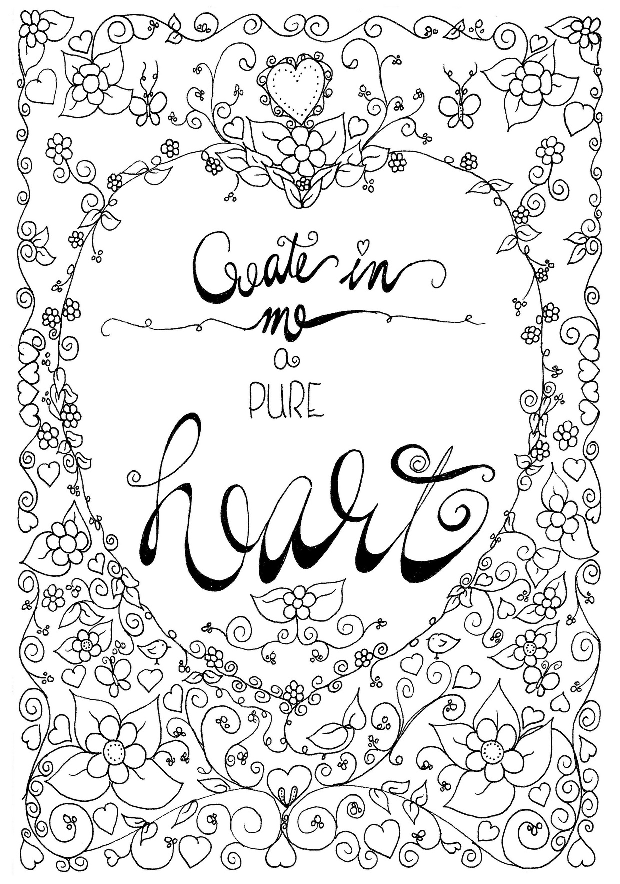 Pure Heart Coloring Page