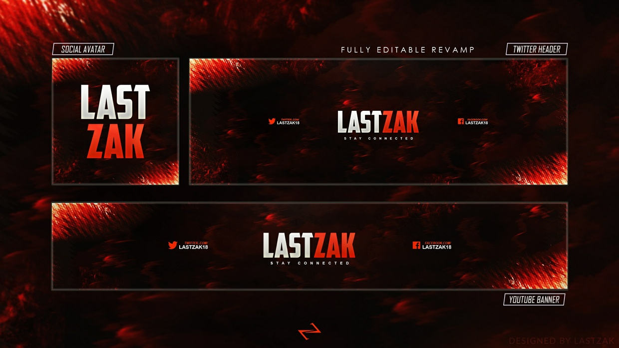 FREE GFX: Free Gaming Revamp/Rebrand (Youtube, Twitter & Sovial Avatar) PSD Template by LastZAK 2017