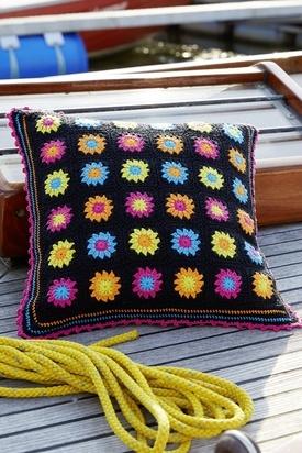 Black Granny Square Pillow