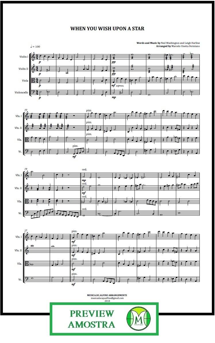 When You Wish Upon a Star | Disney Theme | Quarteto de Cordas | Partitura Completa