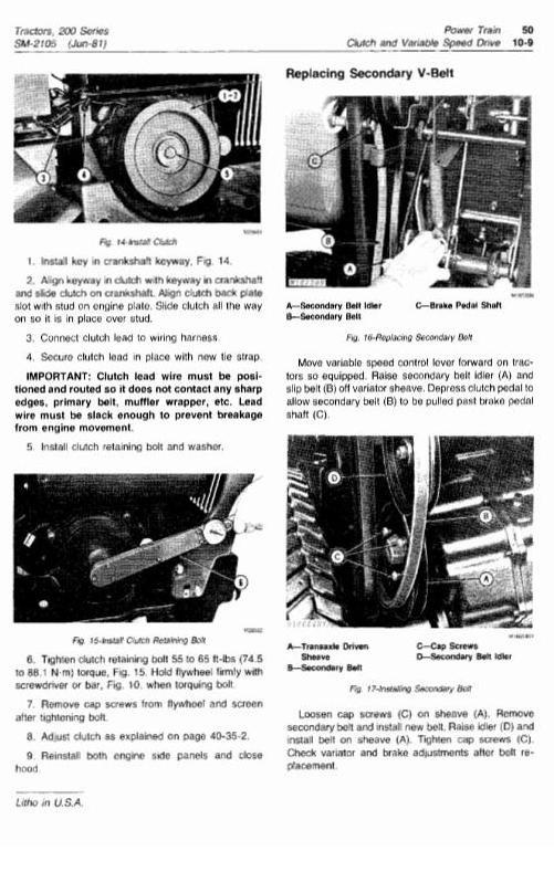 John Deere Lawn and Garden Tractor Type 200, 208, 210, 212, 214, 216 Workshop Service Manual