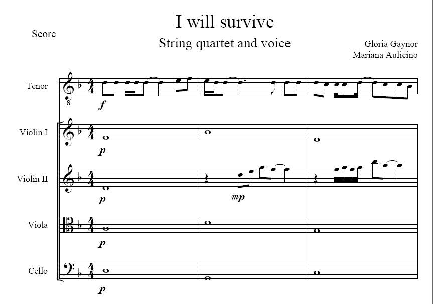 I will survive - Gloria Gaynor - String Quartet + Vocals