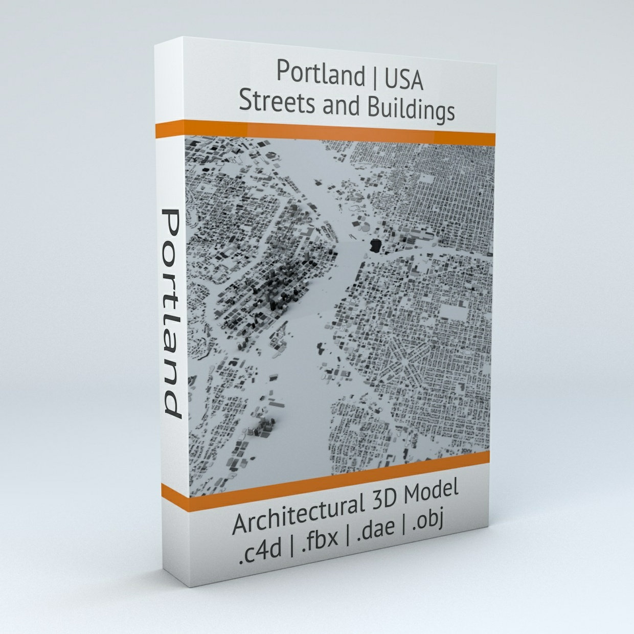 Portland Streets and Buildings Architectural 3D Model