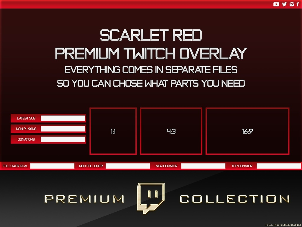 Premium Twitch Overlay Pack - Scarlet Red