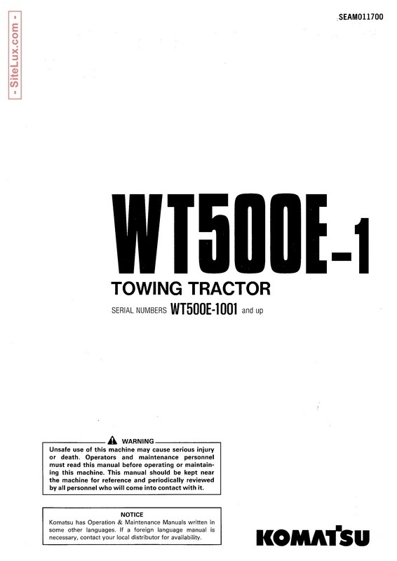 Komatsu WT500E-1 Towing Tractor Operation & Maintenance Manual - SEAM011700