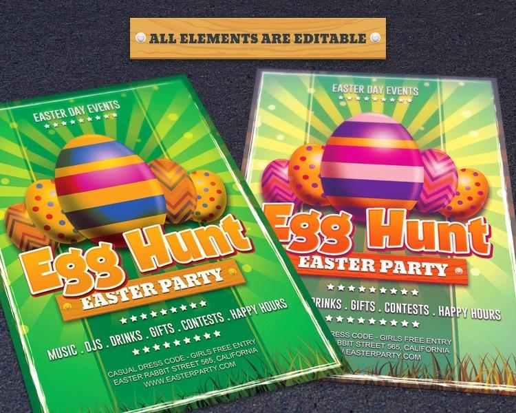 Easter Day Egg Hunt Flyer Template