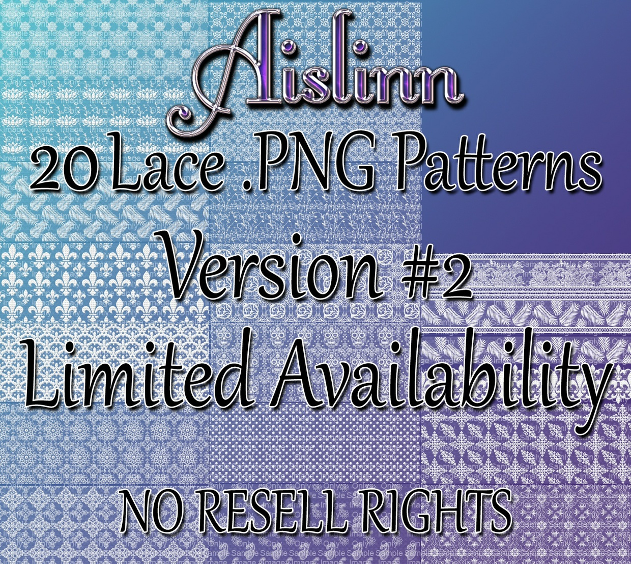 20 Lace PNG Patterns v.2 ON SALE!