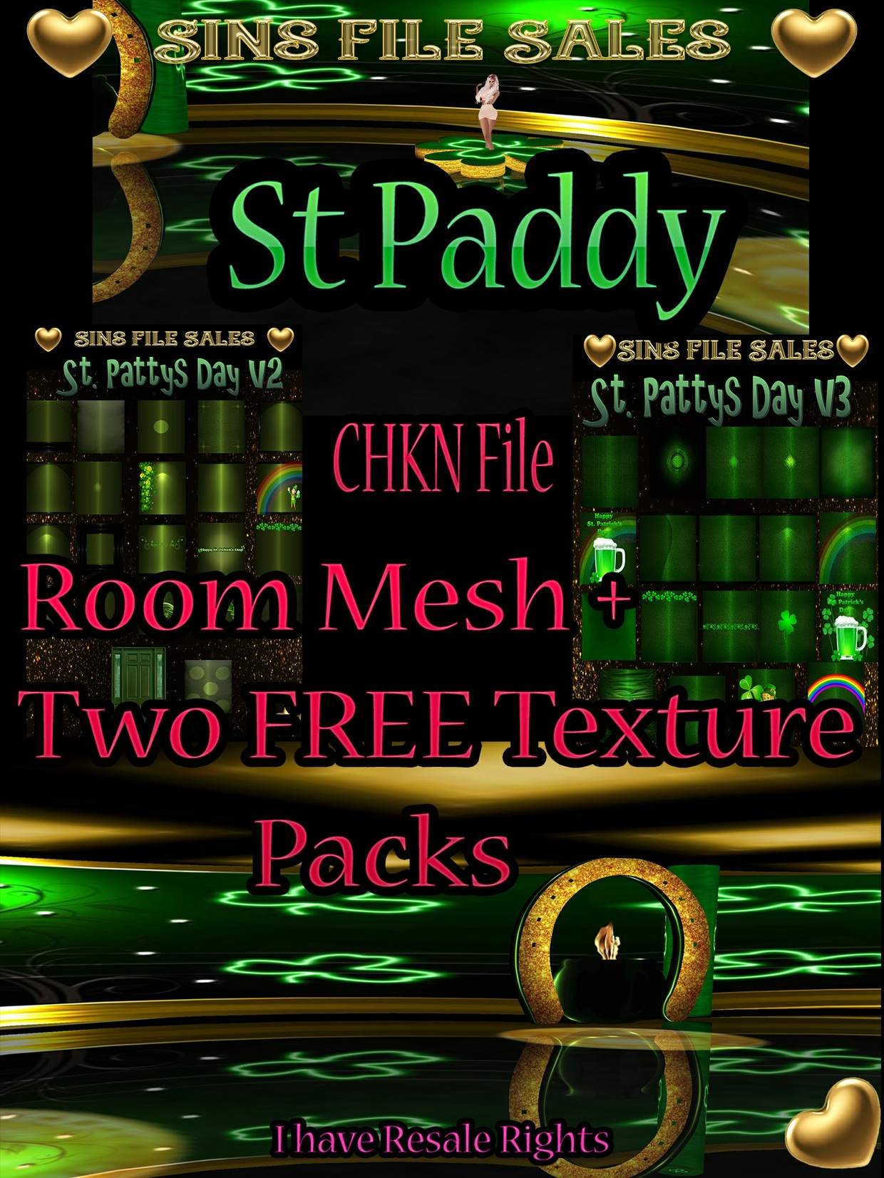 St Paddy Room Mesh + 2 FREE Texture Packs