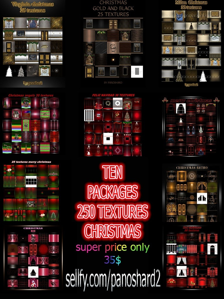 TEN PACKAGES 250 TEXTURES CHRISTMAS ROOM  OFFER 35$