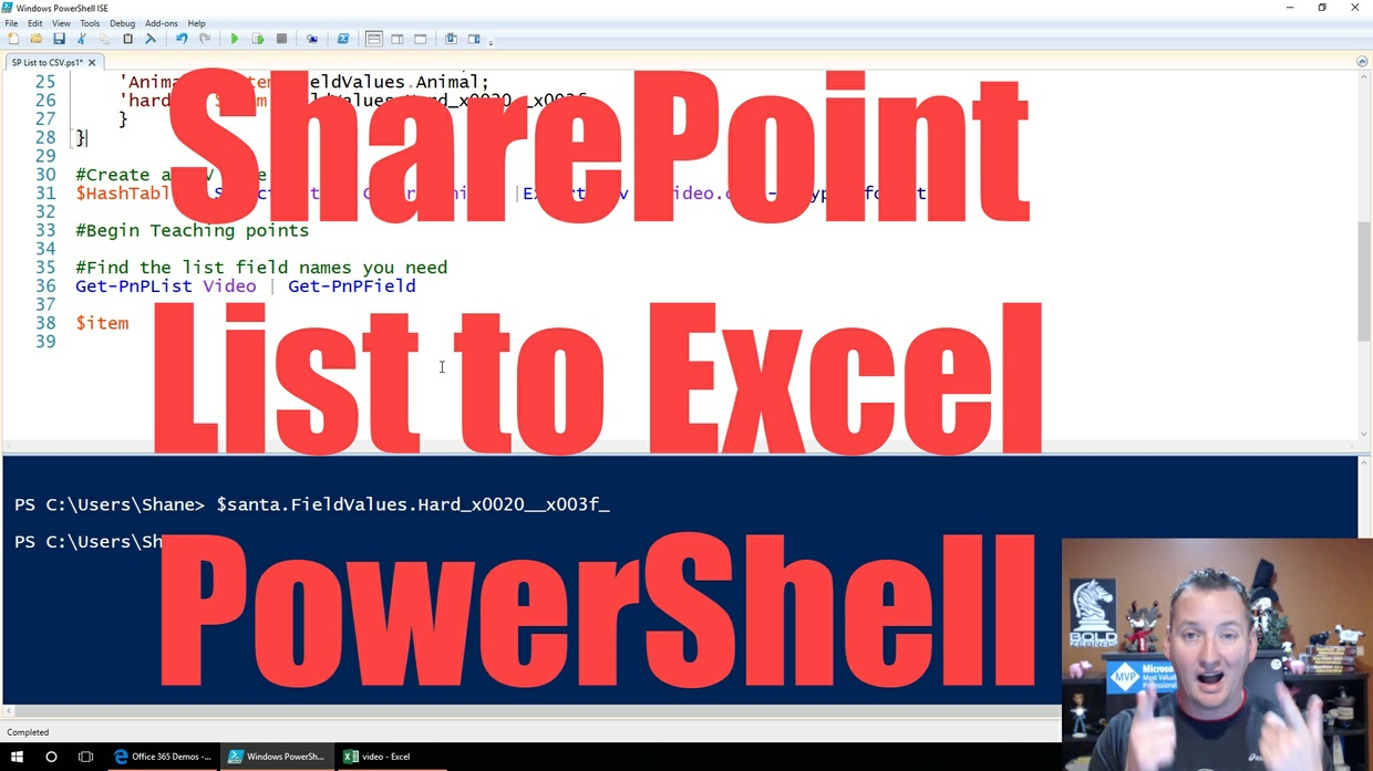 Companion video for Export SharePoint List to Excel using PowerShell