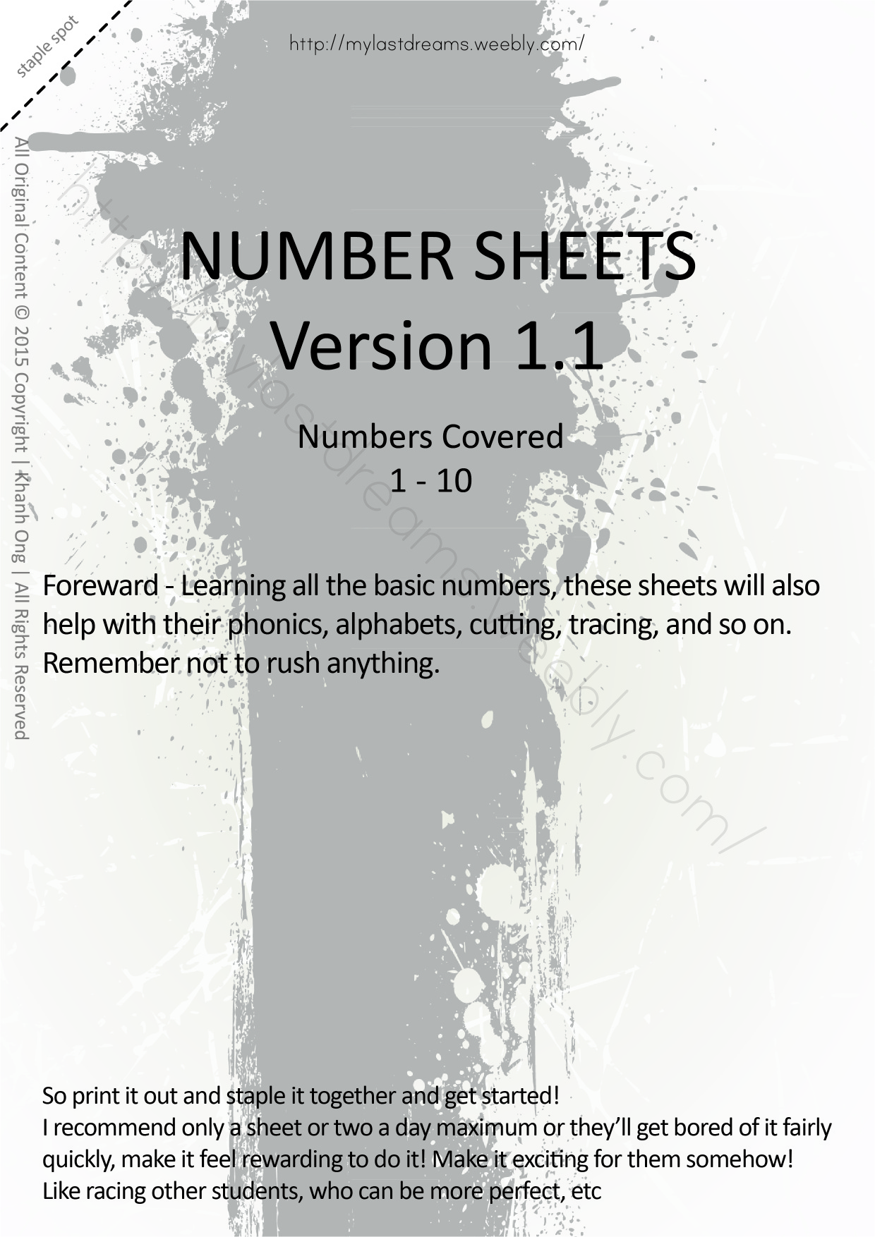MLD - Basic Numbers Worksheets - Full Set - A4 Sized