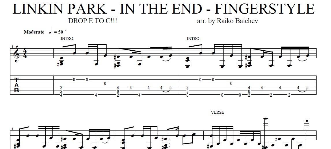 Linkin Park - In The End - Fingerstyle gutiar TAB - arr. Raiko Baichev