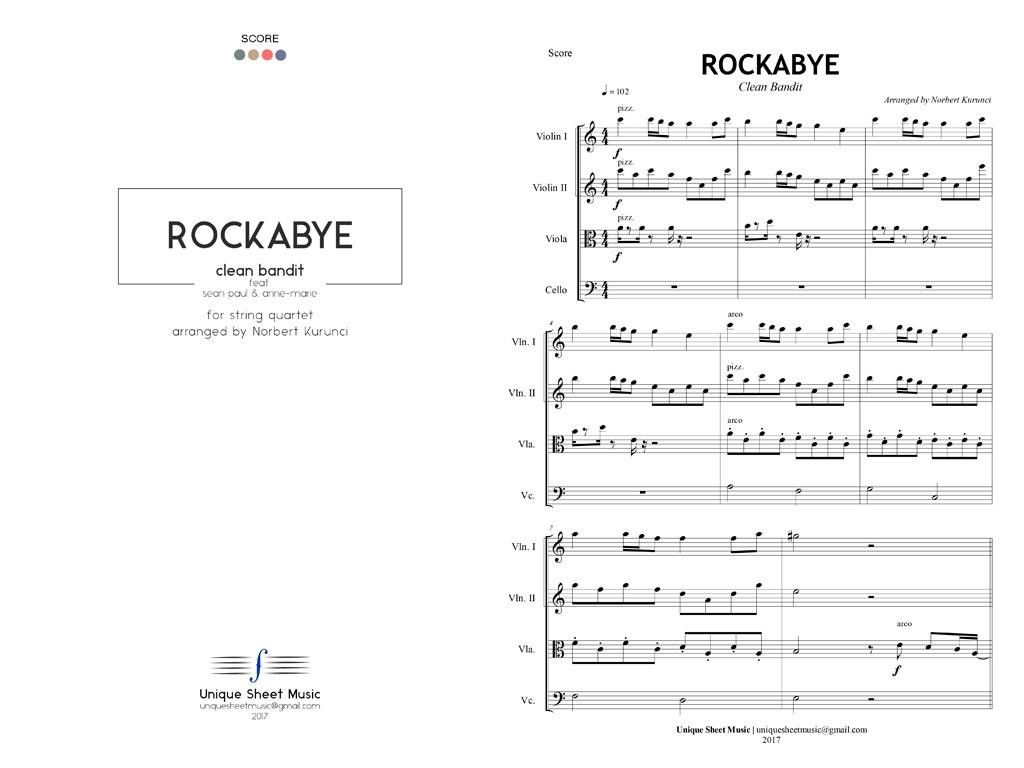 Clean Bandit - Rockabye - Arranged for String Quartet