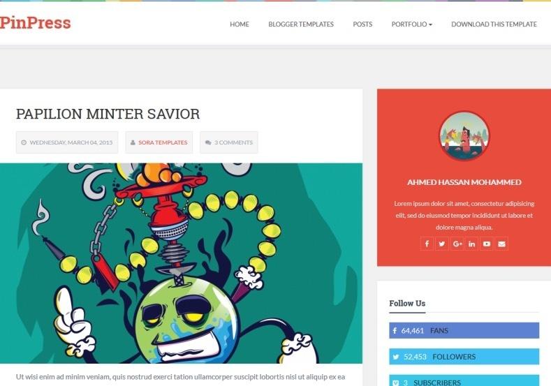 PinPress Blogger Template Premium Version