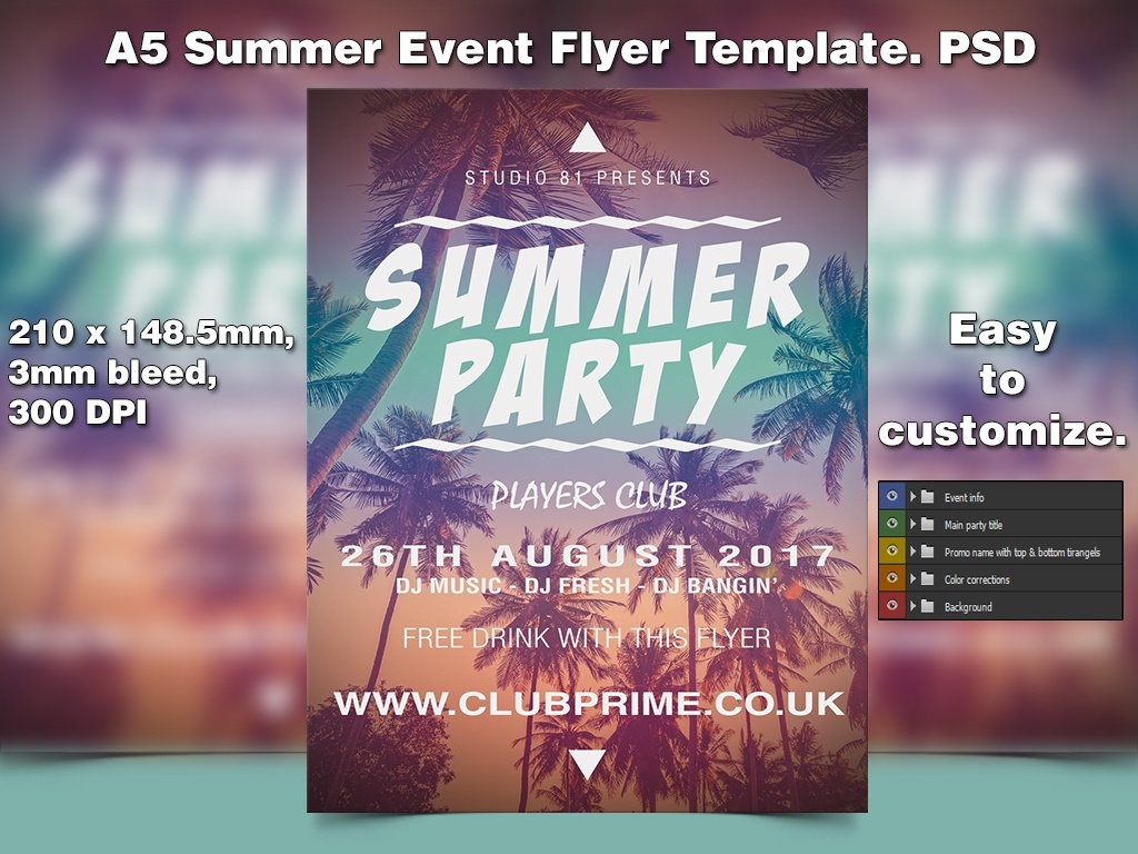 A5 Summer Event PSD Flyer Template 1