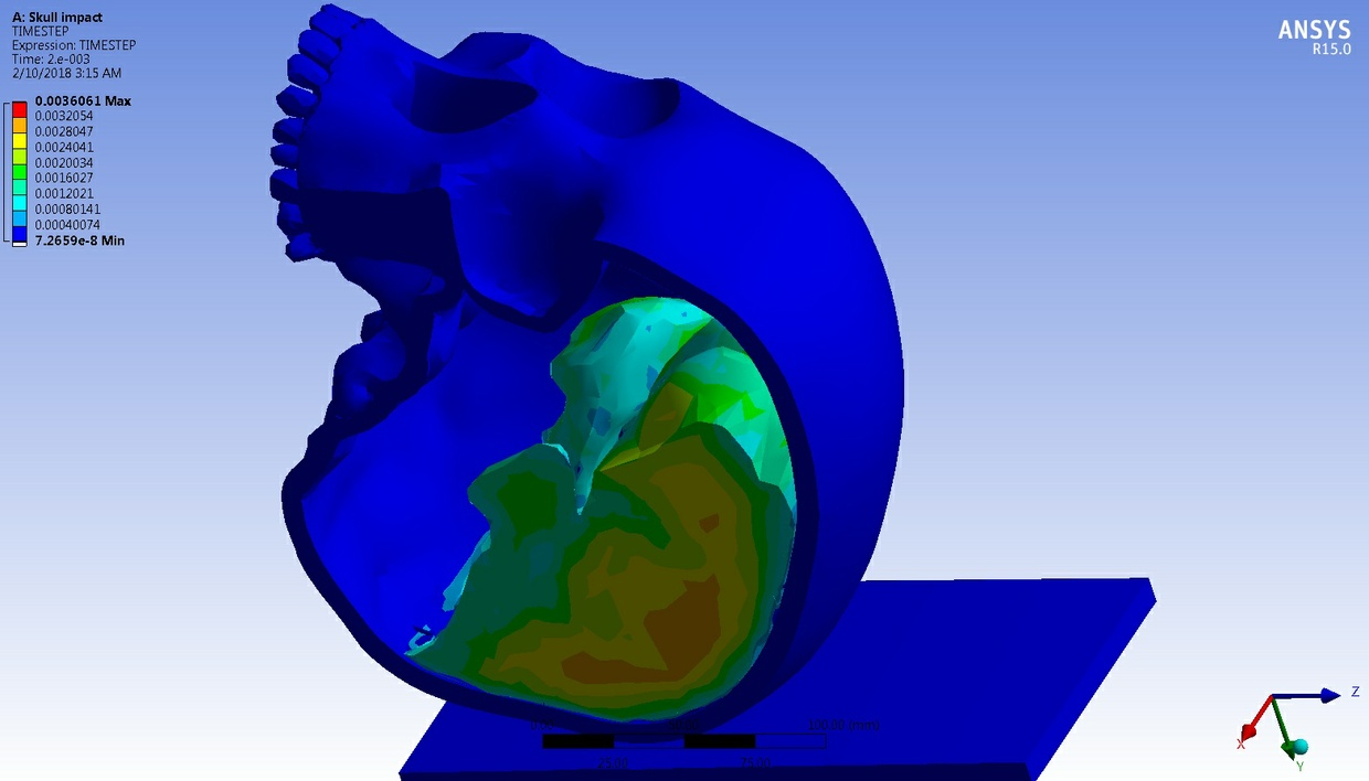 MECHDAT file and 3D model for Impact between a skull with brain and concrete floor