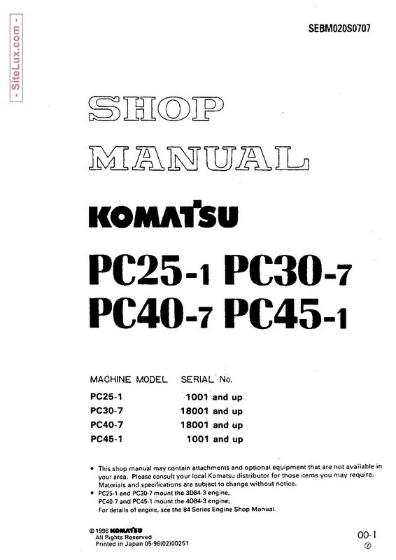 Komatsu PC25-1, PC30-7, PC40-7, PC45-1 Hydraulic Excavator Shop Manual - SEBM020S0707