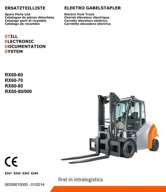 Still Electric Forklift Truck Type RX60-60, RX60-70, RX60-80: 6341, 6342, 6343, 6344 Parts Manual