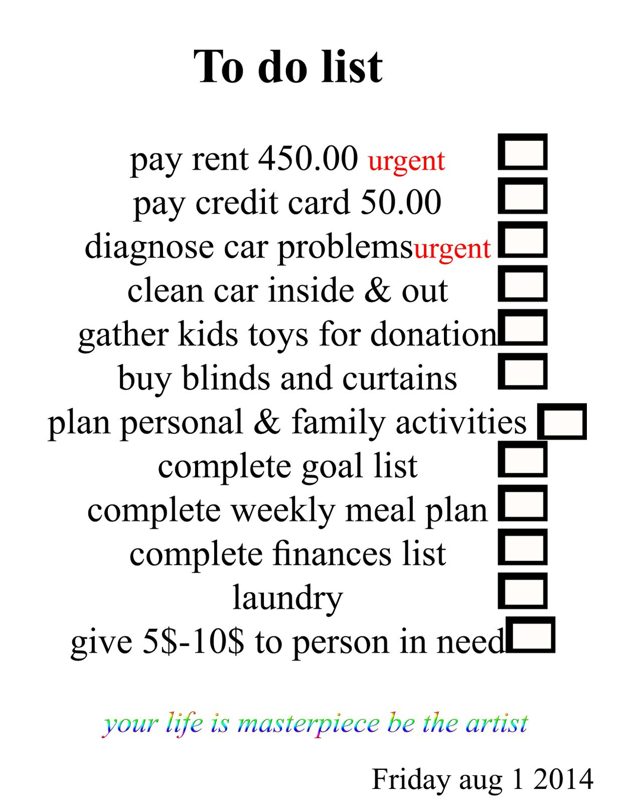 To do list example image