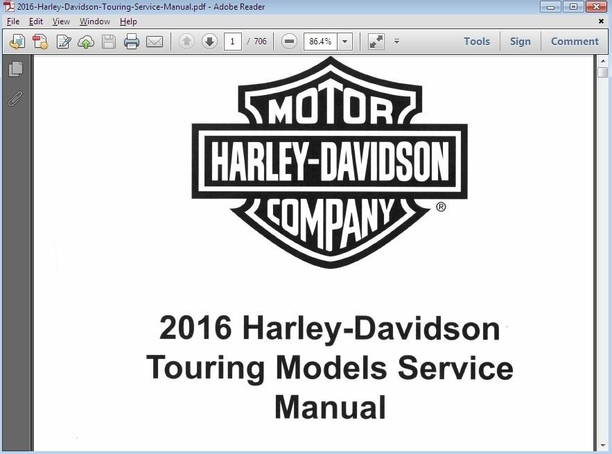 Harley Davidson Dyna Models Workshop Service Repair Manual: 2016 Harley Davidson Touring Models Workshop Service